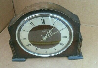 Vintage Smiths 30 Hour Mantelpiece Clock  Wood - Ticking Away Mantel Wind Up