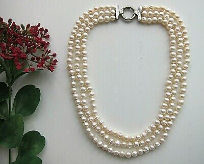 3 Rows of White Akoya Cultured Pearl Necklace Bridal Wedding Occasions
