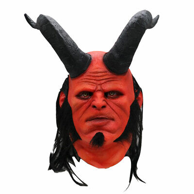 Adult Hellboy Life-Size Natural Latex Mask Long horns Cosplay Halloween Party