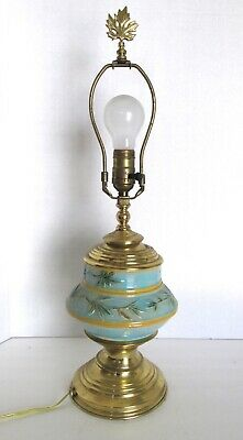 Vtg Majolica Turquoise Yellow Leaf Lamp with Heavy Brass Fittings