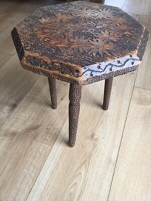 Antique Hand Carved Dimple Finish Gypsy Table