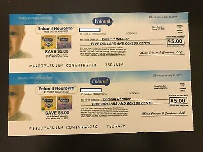 $10 in Enfamil coupons 2x $5 Coupons Exp 7/31/2019