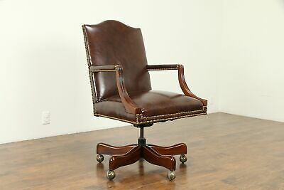 Leather & Mahogany Swivel Vintage Adjustable Desk Chair, Signed Hickory #31127