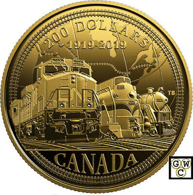 2019 '100th Anniversary of CN' Proof $200 Gold Coin 1/2oz .9999 Fine (18703)(NT)
