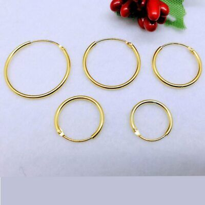 Men's High Quality Gold Plated 925 Sterling Silver Hoop Earrings