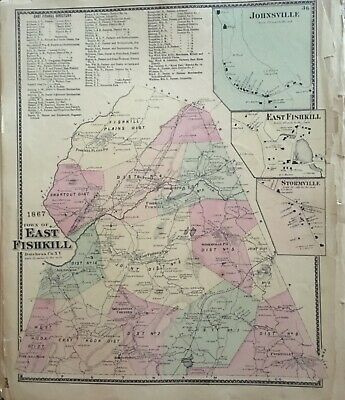 Town of East Fishkill, New York Antique Original Map Beers, Ellis, Soule 1867