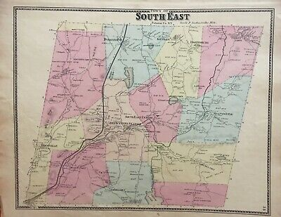 Town of South East, New York Antique Original Map Beers, Ellis, Soule 1867