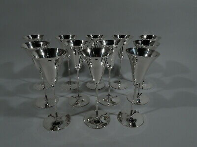 Tiffany Champagne Flutes - 20468 - Art Deco Goblets - American Sterling Silver