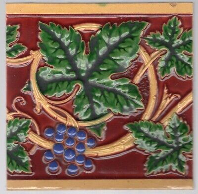 Minton, Hollins & Co - c1875 - Scrolling Grape Vine - Antique English Tiles
