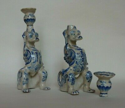 Pair of Antique French Faience Mythical Beast Candlesticks