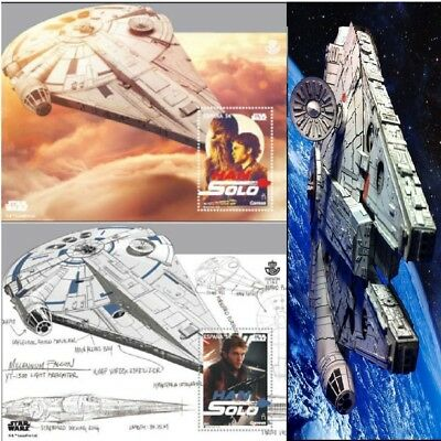 Star Wars 3D Philatelic Stamp. Hologram Spain 2018, Han Solo Millenium Falcon