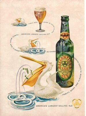 Vintage advertising print Alcohol Beer Ballantine Ale White Pelican purity  ad