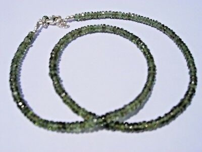 63.1 carats of checkered cut beads 4x2mm MOLDAVITE necklace 18 inches long