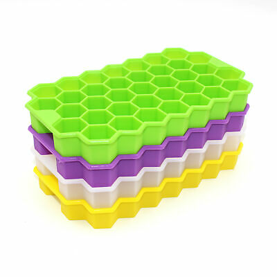 Honeycomb Shape Ice Cube Maker 37 Cubes Silicone DIY Frozen Ice Tray Mold Tool