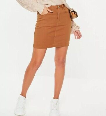 4e418ddfe4 missguided a mini skirt in a superstretch fit with rust denim finish Size10  #23