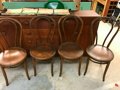 Set 4 Antique Thonet-style Bentwood Wooden Seat Parlor Bistro Chairs