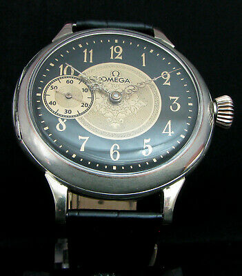 OMEGA ANTIQUE 1912 Large Art Deco Watch Silver Case w Medals