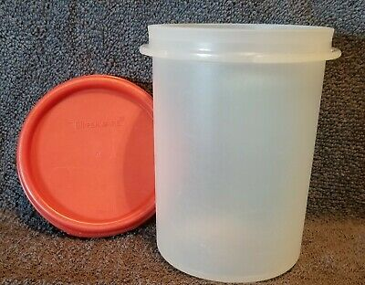 Vintage TUPPERWARE Opaque Canister Container 1606-25 with Red Lid 1667-10