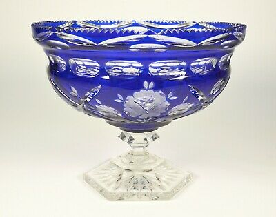 Cut to Clear Crystal Compote Cobalt Blue Art Glass Bohemian Thick Large Lead Big