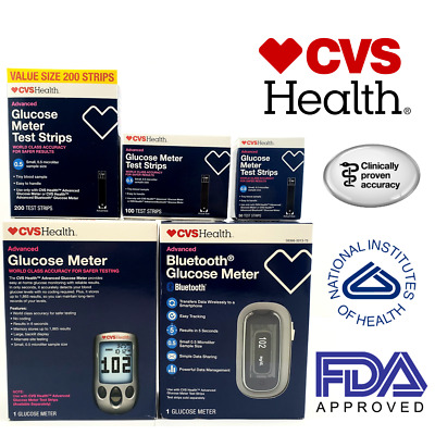 CVS Health Advanced Glucose Meter Test Strips 50-100-200CT Diabetes Test Strips