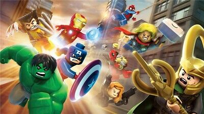 "Lego Marvel's Avengers Painting HD Print on Canvas Home Decor Wall Art 20x36"" #1"