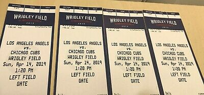 4 Chicago Cubs Los Angeles Angels Tickets 1st Row Section 107 6/3/2019 (makeup)