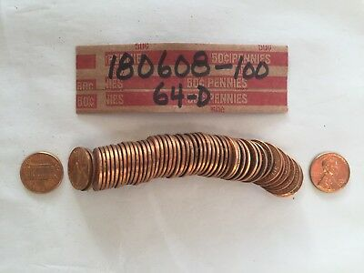 1964-d Lincoln Memorial Backed Cent Roll-UNC-50 Pennies-(180608-100)