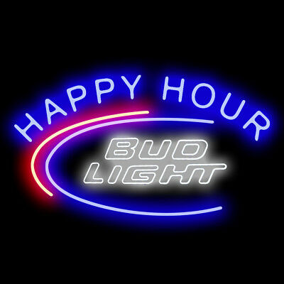 Neon Signs Gift Bud Light Happy Hour Beer Bar Pub Store Party Room Decor 19x15
