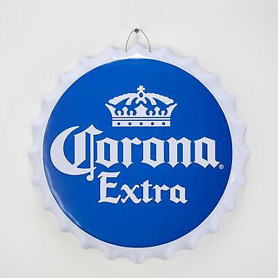 Corona Extra Beer Crown Logo Bottle Cap Shaped Metal Sign Game Room Man Cave Bar