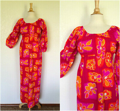 c6bad012c9 VTG 60s70s High Tide Swimwear of Calif bright neon pinks n org barkcloth  maxi