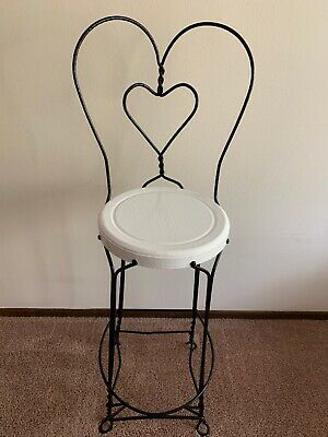 vintage ice cream parlor chair With Twisted Heart Back. Iron Seat.
