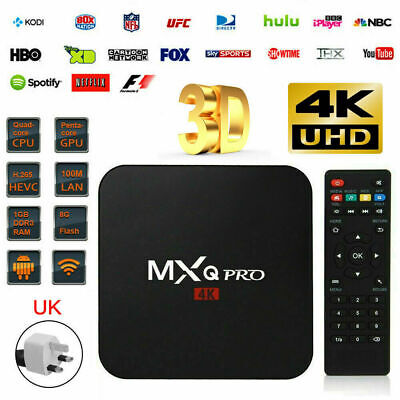 Newest Ultra 4K MXQ Pro Quad Core Android TV Box HD Sports 3D Media Player UK