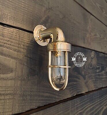 Small Solid Brass Industrial Bulkhead Wall Light Vintage Antique Cage Ship Lamp