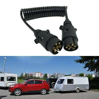 7 Pin 1.5M Plastic Trailer Plug X2 w/curly Cable extension Male to Male Socket