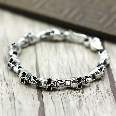 Solid 925 Sterling Silver Mens Heavy Skull Chain Clasp Cuff Bracelet