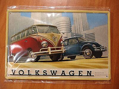 PLAQUE METAL bombée VW COMBI COX BEETLE VOLKSWAGEN COLLECTION METAL SIGN