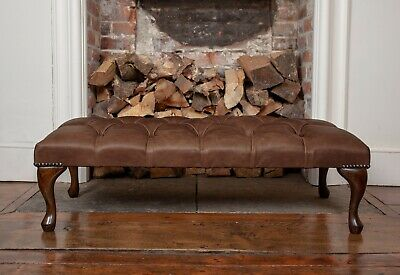 Large Chesterfield Queen Anne Footstool in Vintage Brown Leather Handmade in UK