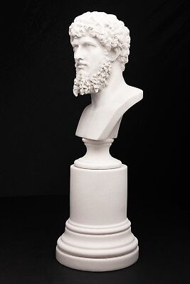 Marble Bust of Roman Emperor Lucias Verus on a large base, Classical Sculpture.
