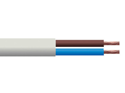 10m 2 CORE 6 AMP ROUND WHITE EXTENSION LEAD ELECTRIC CABLE OTHER LENGTHS LISTED