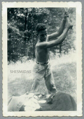 #285 Taking His Best Swing! Shirtless Man With an Ax, Vintage Gay Int Photo