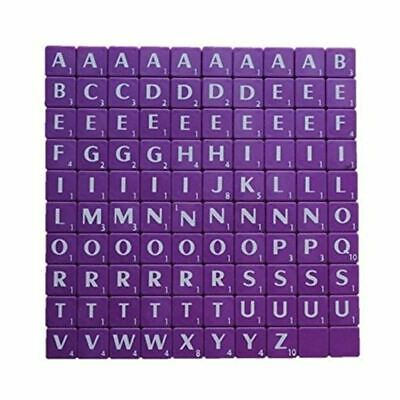 100 Plastic Scrabble Tiles Purple Letters Numbers For Crafts Alphabets Play New