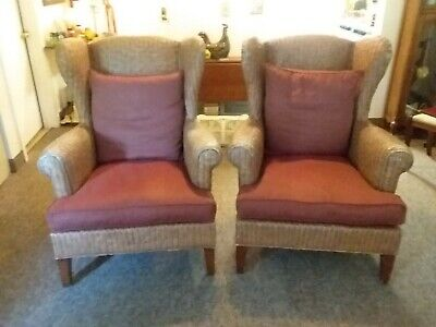 Vintage Rattan Wing Back Chairs with Extra Set of Chair Covers