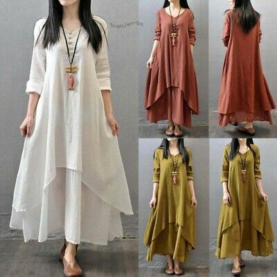 Dress Maxi Sleeve Boho Peasant Dresses Cotton Gypsy Linen Sexy Women Long Ethnic