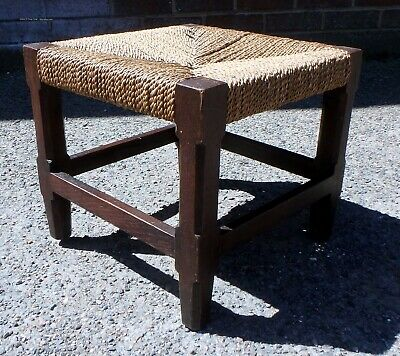 Edwardian antique Arts & Crafts Arthur Simpson of Kendal style footstool stool