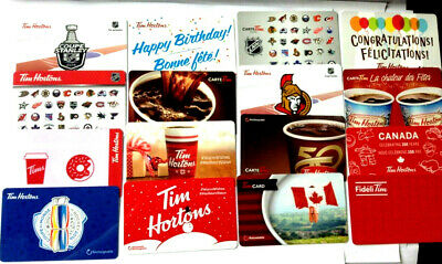 16x TIM HORTON MIXED NO DOUBLE COLLECTIBLE GIFT CARD LOT X16 RECHARGEABLE