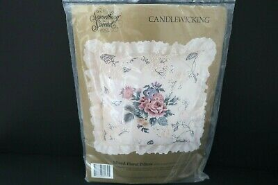 "Something Special Mixed Floral Pillow Cover Candlewicking Kit 80170 NEW 14"" sq"