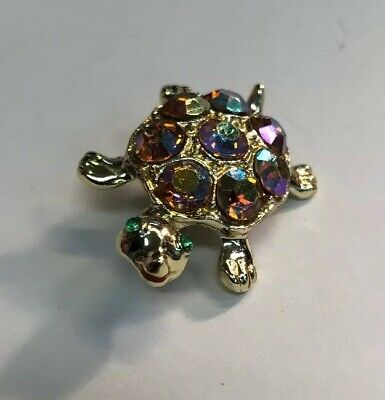 Gorgeous Iridescent Green Eyed Turtle Brooch Pin Golden Tone