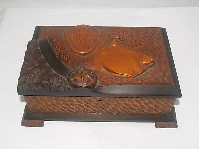 Antique Victorian Folk Art Wood Carved Dog Figural Jewelry Desktop Trinket Box