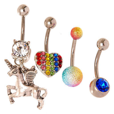 14g Stainless Steel Unicorn Belly Ring With Clear Cz Dangle Navel