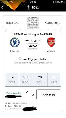 Uefa Europa League Final Ticket Chelsea-Arsenal Categoria 2